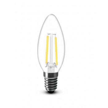 E14 filament LED kaars 2W 2700k warm-wit dimbaar top