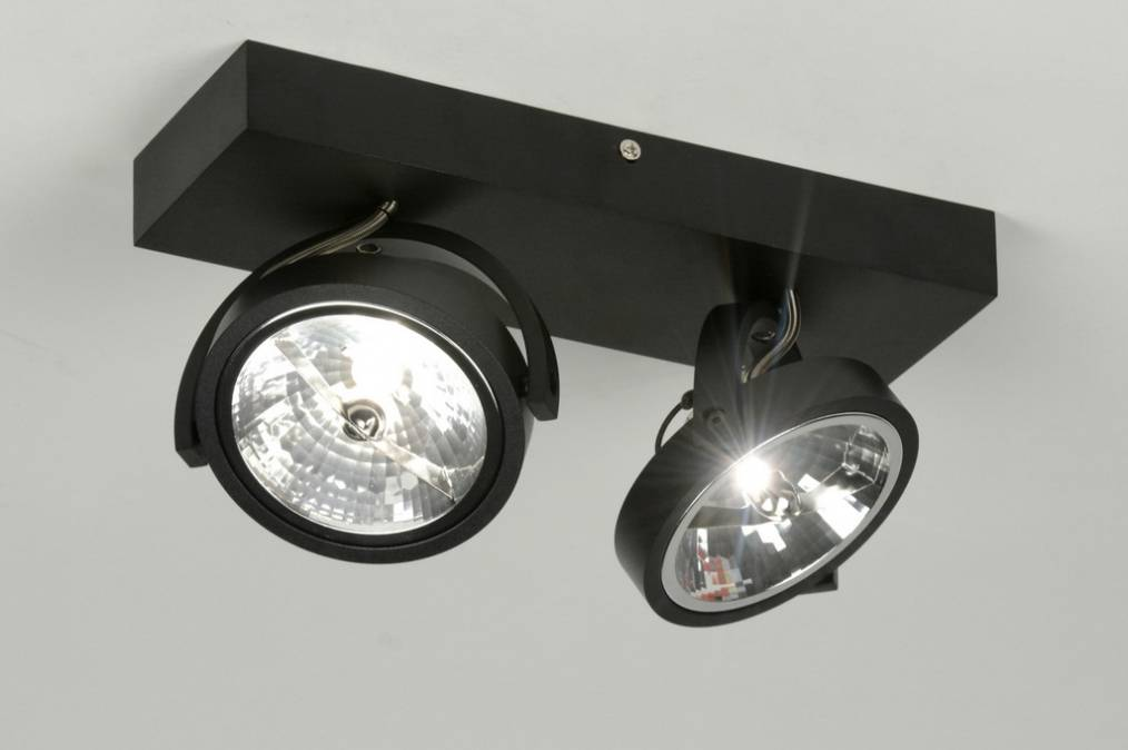 Plafond lamp 2x ar111 mat zwart yarled for Plafond spot led
