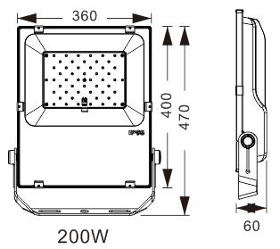 LED breedstraler 200W koud-wit IP65 ( vervangt 2000w)